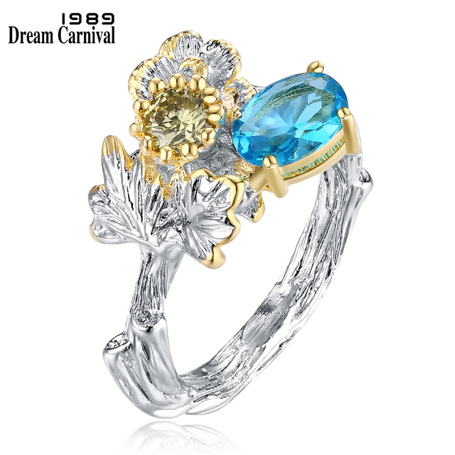 DreamCarnival 1989 Silver Color Flower Ring for Lady Blue Yellow CZ Luxury Party