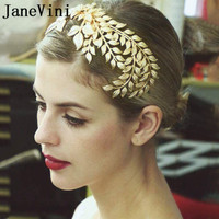 JaneVini 2018 Gold Wedding Fascinator Leaf Bridal Headband Wedding Hairband Bride Hair Accessories Haaraccessoires Bruid