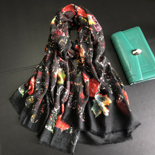 Winter Scarf Pure Cashmere Red Women Leaves Scarves Brand Design Warm Large Shawls Wraps 200*100cm