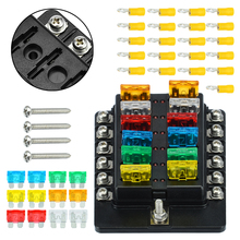 12 Manier Auto Styling Boot Bus Utv Blade Fuse Box Holder Cover Ato Atc Blade Zekering Blok 12V + rode Led Indicator + Schroeven