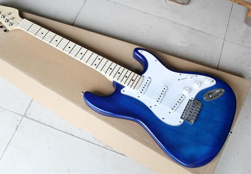 hot real photo 6 string blue electric guitar in stock without hard case hot selling in electric. Black Bedroom Furniture Sets. Home Design Ideas