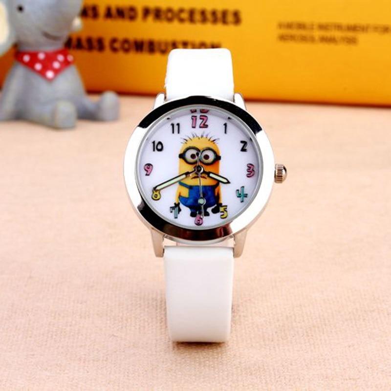 2016 new hot sell 3D Eye minion children Cartoon watch women men quartz watch kids leather watches students sports wristwatches