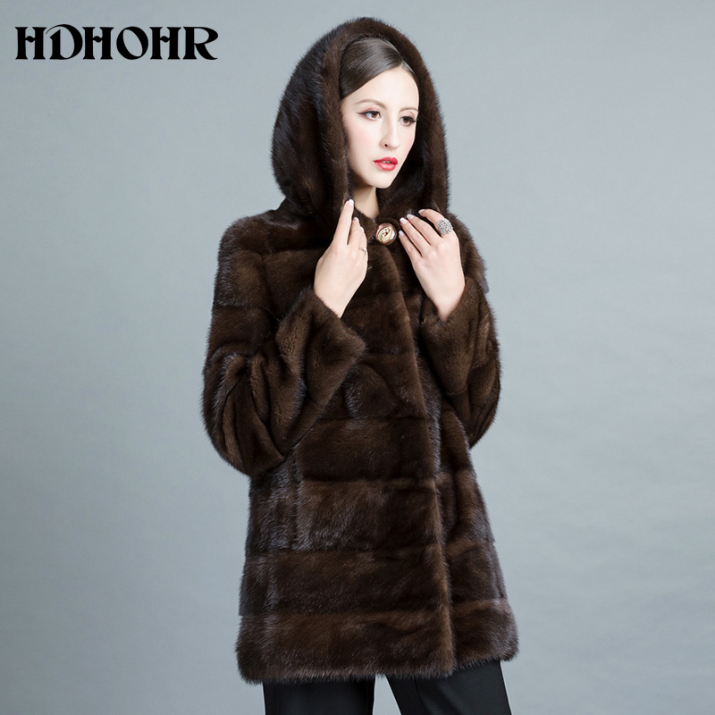 HDHOHR 2019 Baru Natural Mink Fur Coats Wanita Tebal Hangat Musim - Pakaian Wanita - Foto 2