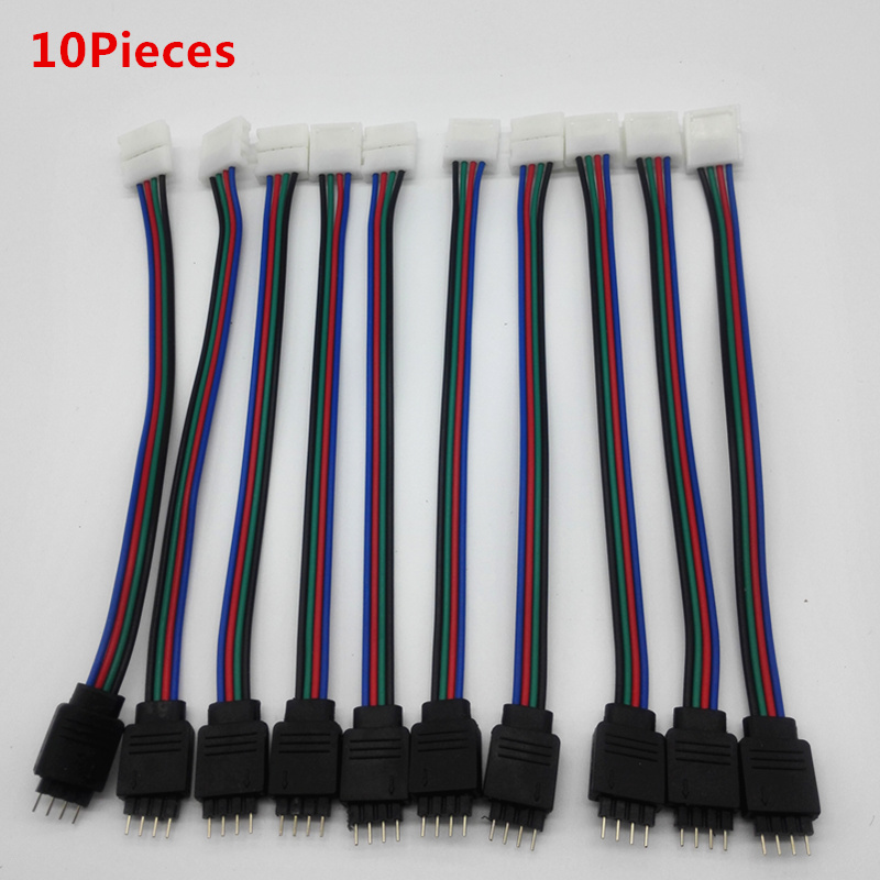 10pcs RGB Led Strip Wire Cable Solderless PCB board with female connect For 3528 5050 SMD LED Strip 4PIN Male