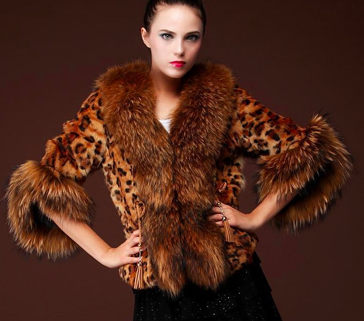 Women's leopard pattern faux fur coat short parka winter warm furry outwear luxury