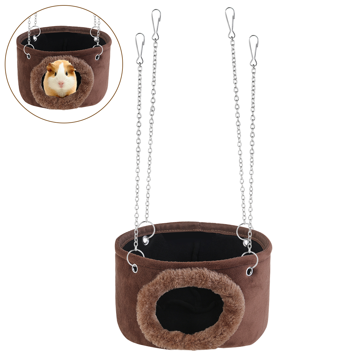 Small Animals Hammock Hanging House Snuggle Cave Hut Squirrel Warm House For Squirrel Chinchilla Guinea Pig Rat With 4pcs Chains