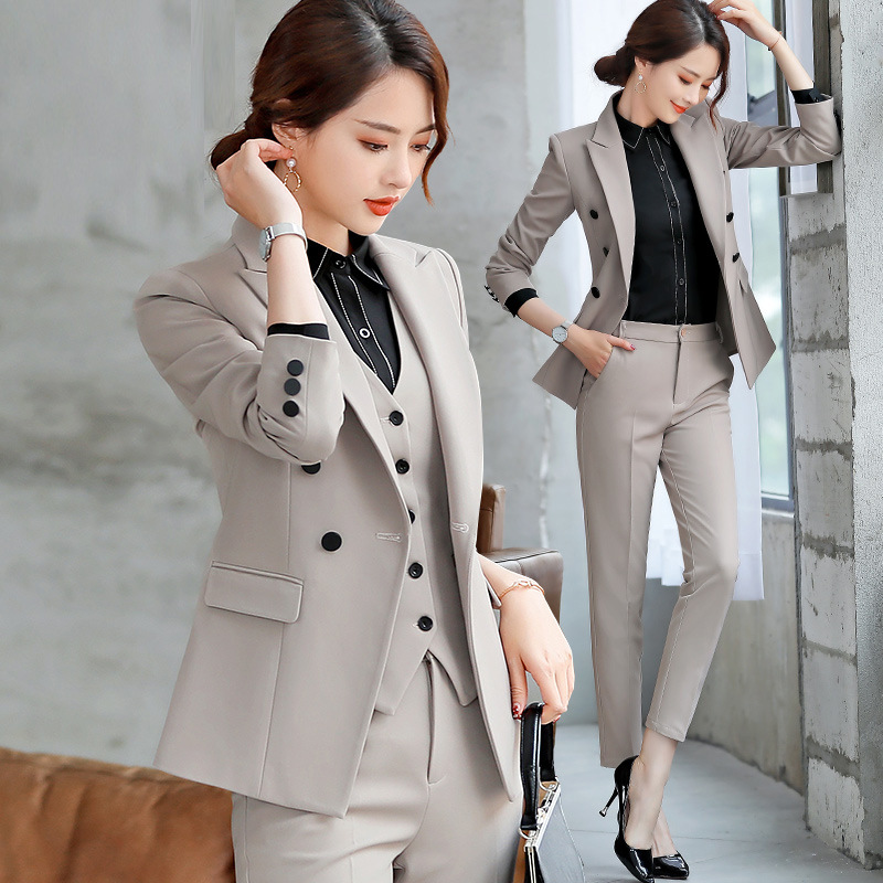 Professional wear suit solid color casual blazer trousers two-piece female 2019 spring temperament temperament women's clothes