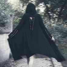 Plus Size Casual Black Gothic Vintage Fall Women Long Trench Coats Thin Hooded Summer Overcoat Plain Female Fashion Outwear 2019