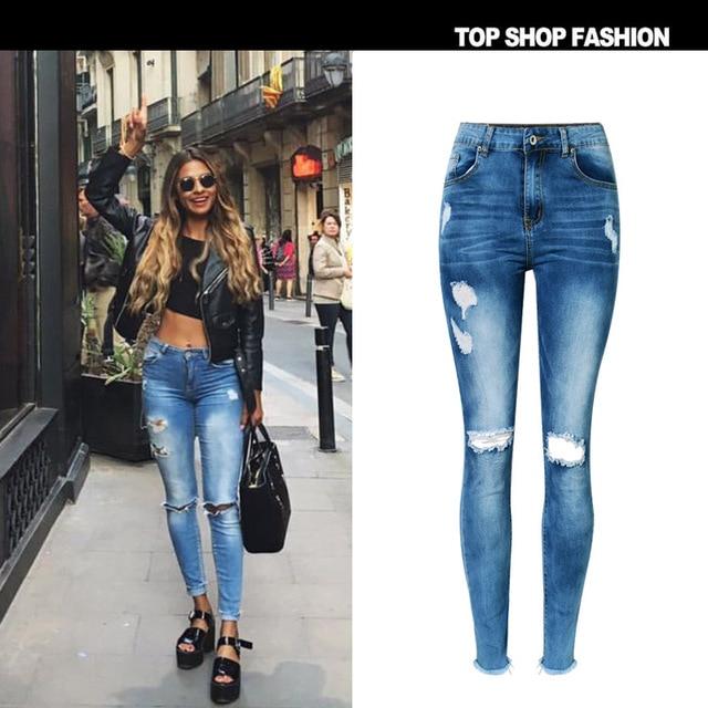 353eb847e2 Moda Casual de Mujer de Marca Vintage de Cintura Alta Vaqueros Ajustados  Denim Slim Jeans Rotos