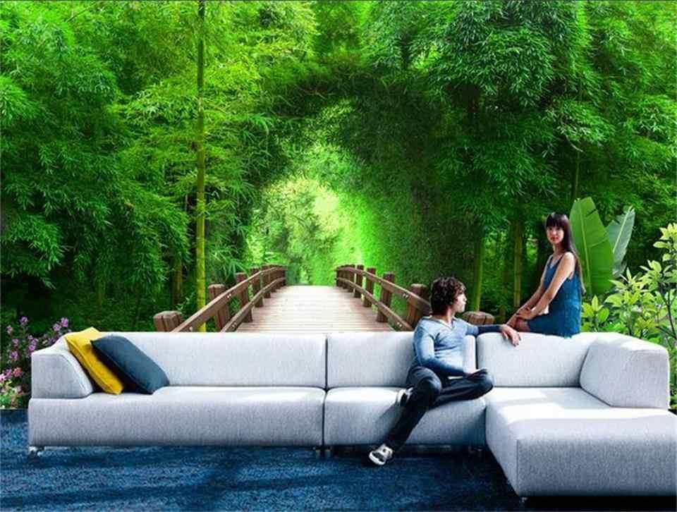 3d обои фотообои на заказ настенная гостиная бамбуковый лес деревянный мост живопись диван ТВ фон рисунок-Наклейка на стену