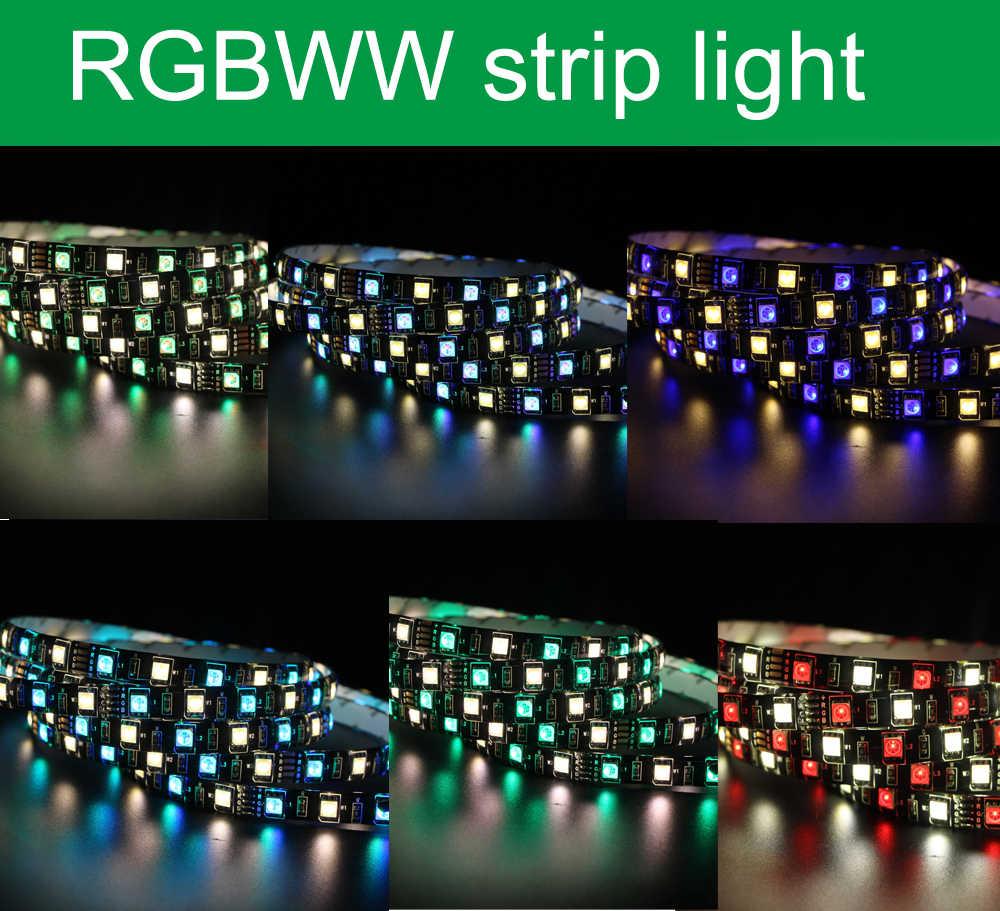 1 メートル 5 メートル 4in1 RGBW RGBWW LED ストリップライト 5050 DC 12 ボルト 24 ボルトフレキシブル Led ライト RGB + 白/RGB + ウォームホワイトダイオードテープロープ 60 LEDs/メートル