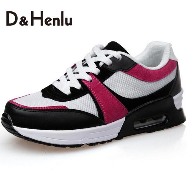 {D & H} женская Вулканизируют Обувь Заплатки Способа Женщин, Идущих Обувь Воздушной Подушке Подошвы Женщин Повседневная Обувь квартиры Обувь Женщина