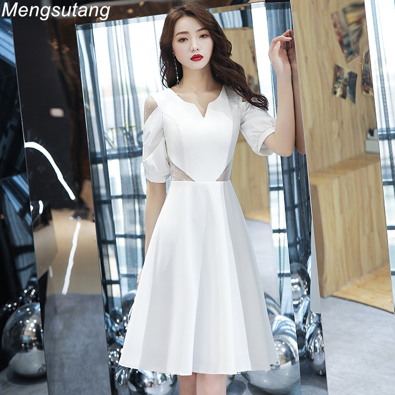 Robe de soiree Short Simple Elegant Slim V-Neck Pupil Tuxedo evening dress vestido de festa Banquet Prom dresses Party dresses