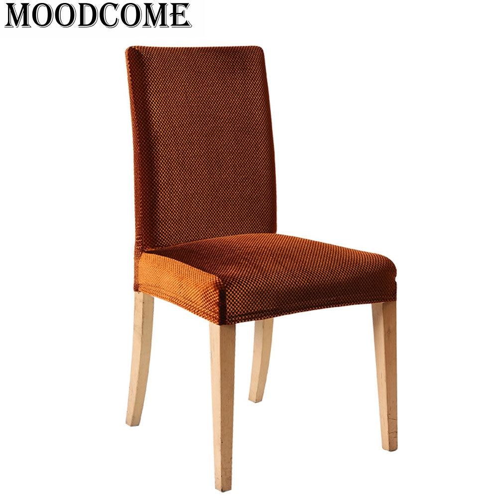 ᗔNueva llegada marrón comedor sillas housse de chaise estiramiento ...