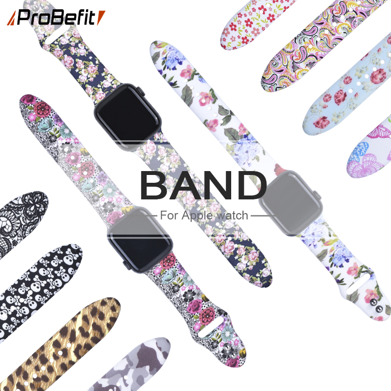 Floral-Flower-Bands Printed-Strap Watch-Series Apple Silicone 40mm for 5-4-3/2-1 44mm
