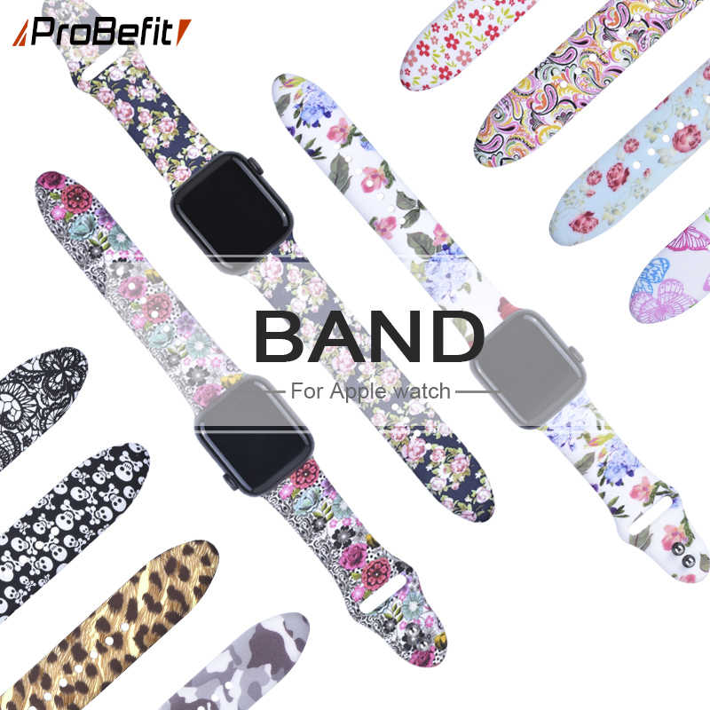 Floral Flower Bands For Apple watch Series 5 4 3 2 1 40mm 44mm, Silicone Printed Strap for iWatch Series 5 4 3 2 1 38mm 42mm