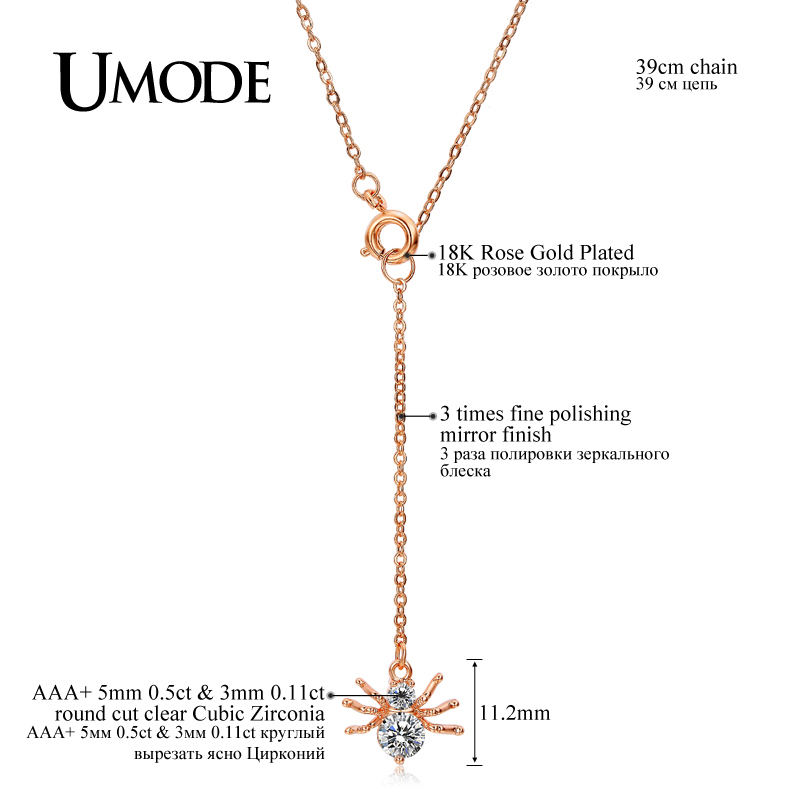 UMODE Brand New Spider Shape Rose Gold Color Top CZ Pendants - Fashion Jewelry - Photo 4
