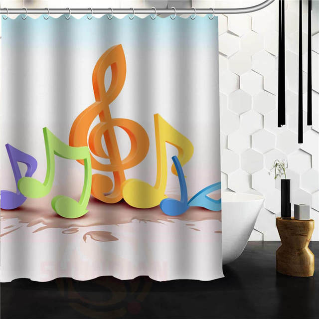 Custom Musical Note Shower Curtain Bathroom Products Creative Polyester Home Product