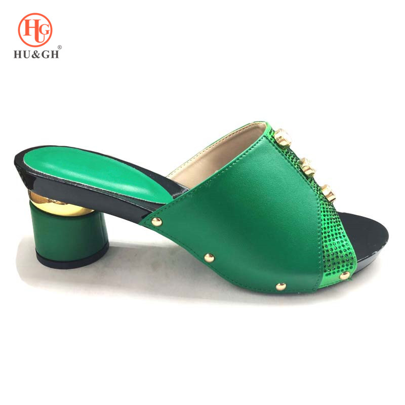 New Green Color Italian Women Sandals Shoe For Party African Wedding High Heels Slip On Women Pumps High Quality Wedding Sandals