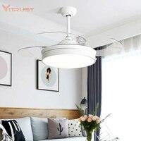 Led invisible ventiladores de teto com luz decorativa lâmina retrátil dobrável moderna lâmpada ventilador controle remoto luzes penduradas