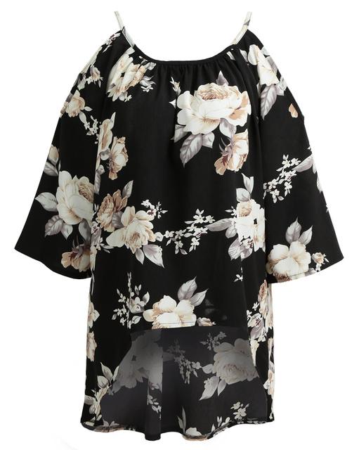 Anself Floral Print Off Shoulder Women Blouse