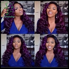 Fashion loose wave ombre purple lace front wig brazilian virgin hair glueless full lace wigs purple human hair wig free shipping