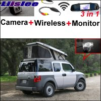 Liislee 3 in1 Special Rear View Reversing Camera + Wireless Receiver For Honda Element + Mirror Monitor Esay DIY Parking System
