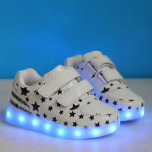2016 Casual Luminous Shoes Led kids Fashion  Met  stars Shoes USB Hombre Light Up Chaussure