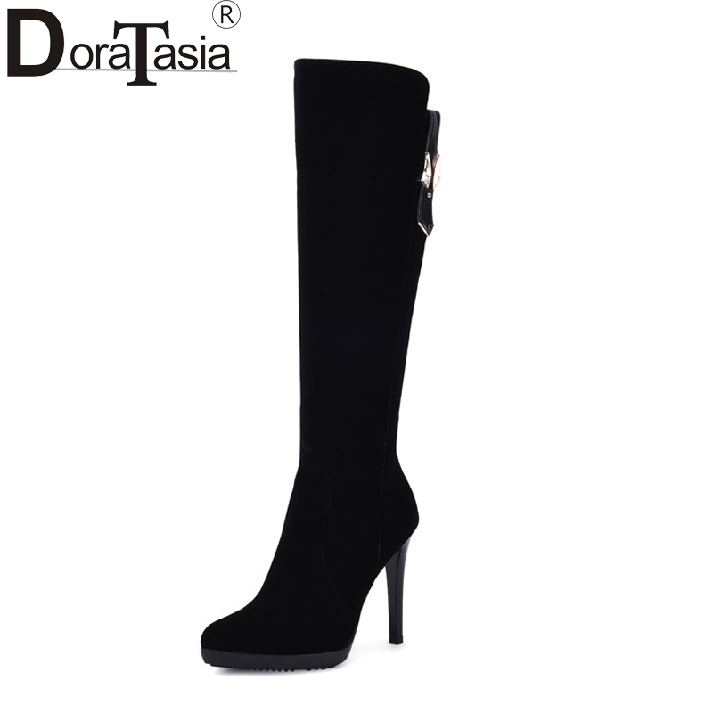 DoraTasia Women's Fashion Thin High Heel Knee Boots Sexy Pointed Toe Platform Faux Suede Upper Woman Shoes Size 34-39 new thigh high women faux suede sexy fashion over the knee boots sexy thin high heel boots platform woman shoes black blue 34 43