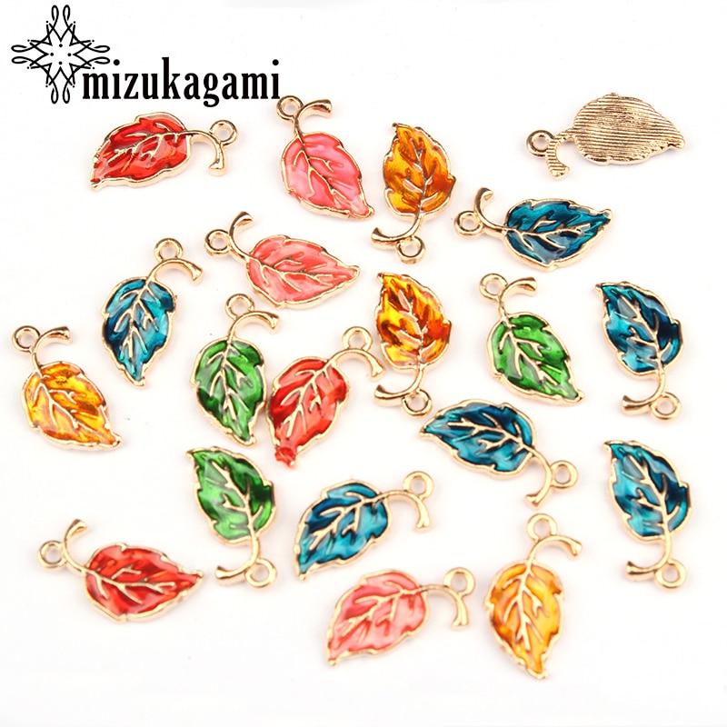 20*10mm 10pcs/lot Zinc Alloy Drop Oil Leaves Shape Charms Pendant For DIY Jewelry Earrings Accessories