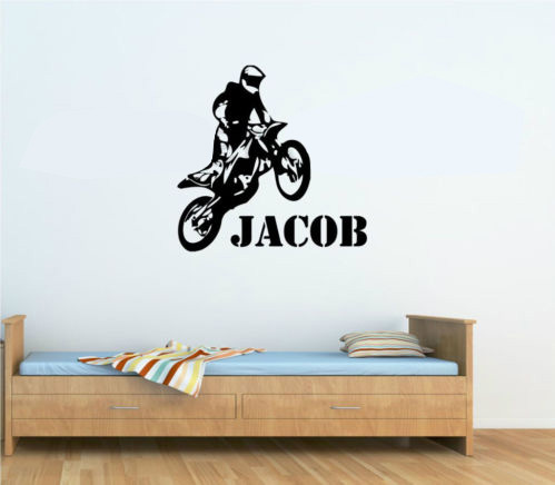 Cp69 custom name vinyl decals motorbike motocross wall decal wall sticker home decor for kids boys wallpaper wall mural in wall stickers from home garden