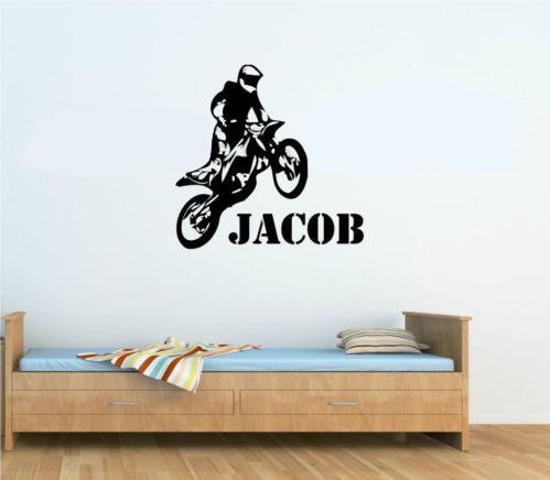 CP69 Custom Name Vinyl Decals Motorbike Motocross Wall Decal Wall