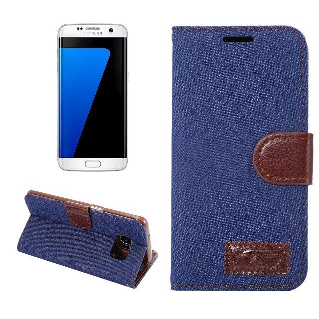 Чехол для телефона <font><b>Samsung</b></font> Galaxy <font><b>S7</b></font> Edge g9350 G935 джинсовой ткани Нескользящие Флип Чехол карты для <font><b>Samsung</b></font> <font><b>S7</b></font> Edge стенд бумажник Обложка сумка