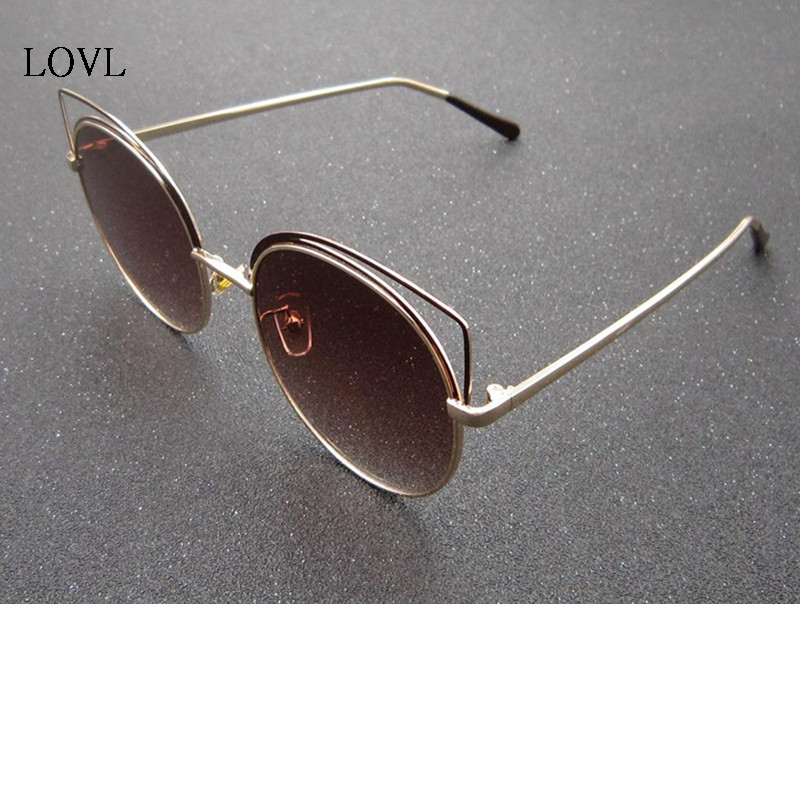 Cat Glasses Pink Mirror Retro Metal Women Fashion Copper UV400 L1128 Lady's