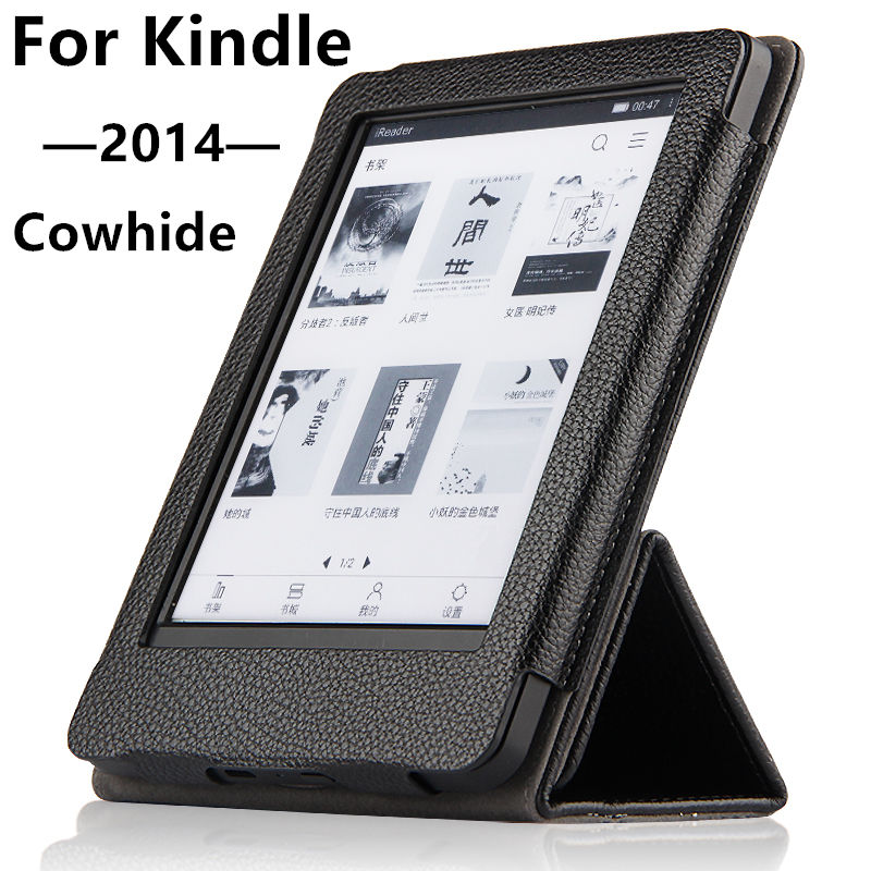 Case Cowhide For Kindle 2014 Protective eBook Reader Smart Cover Protector Genuine leather For Amazon Kindle 2014 Sleeve 6'' case cowhide for amazon kindle paperwhite 3 2 1 protective ebook reader smart cover protector genuine leather sleeve 6 cases