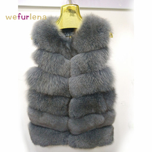 Solid Real Natural Fur Vest Women's Genuine Fox Fur Leather Jacket Overcoat Girl's Fox Fur Vest Coat