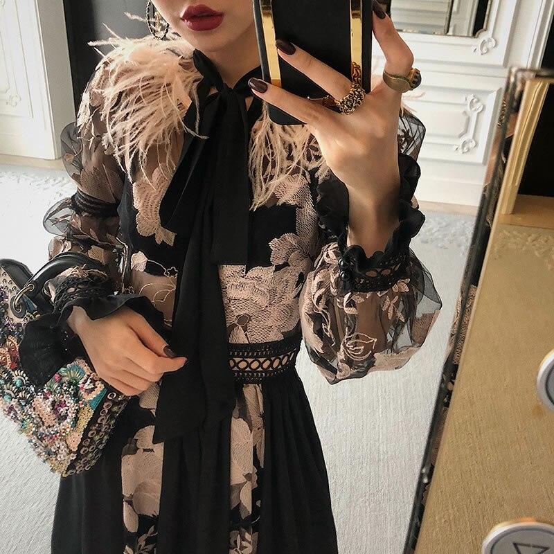 À Pleine 2019 Wbb1843 Patchwork See Bandage xitao Évider Broderie Cru Printemps Mode Nouveau Gland Femmes Picture Manches Fleur Robe c1C1FSqYW