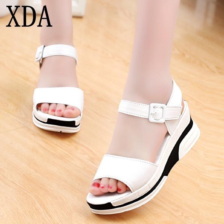 XDA 2019 New Hot Sale Women Summer Sandals Peep-toe Low Shoes Roman Sandals Fashion Ladies Flip Flops Casual Female Shoes girl shoes in sri lanka