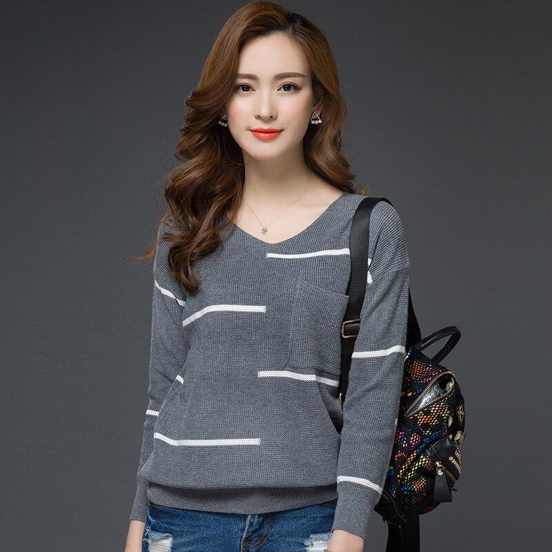 otoño e invierno más tamaño suelta suéter del suéter de manga larga Con Cuello