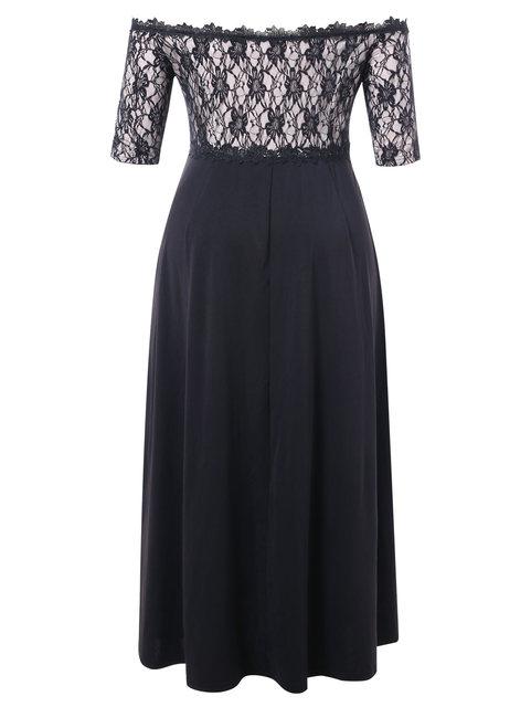 AZULINA Plus Size Lace Applique Floor Length Dress Women Elegant Off The Shoulder 3/4 Sleeves A-Line Dress Vestido Party Dresses 2