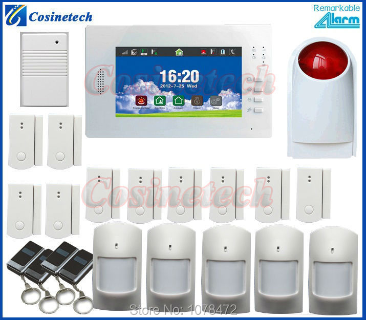 7 inch Touch screen Home Security FSK 868MHZ GSM Alarm System,detailed menu,multi-language,drop shipping customized alarm kit gsm alarm system with multi language english german italian dutch menu for option home security 7 inch touch screen home alarm