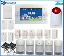 7 inch Touch screen Home Security FSK 868MHZ GSM Alarm System detailed menu multi language drop