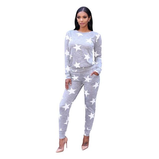 2 Piece Set Women's Tracksuit Set Autumn Winter Runway Fashion Stars Printed Long Sleeve Pullovers Sweatshirt + Long Pants Set