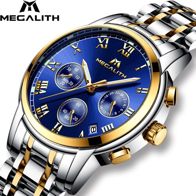MEGALITH Роскошные светящиеся часы мужские водонепроницаемые аналоговые наручные часы из нержавеющей стали Хронограф Дата кварцевые часы Montre ...