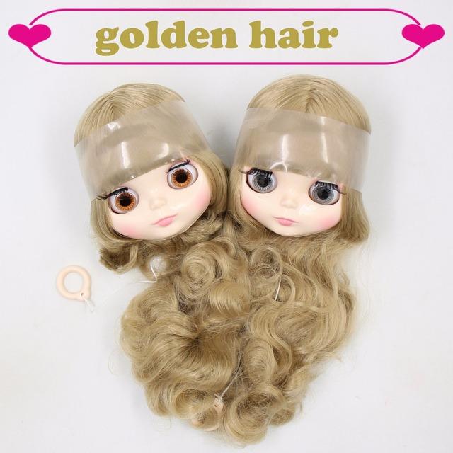 Neo Blythe Doll Only Head Short & Long Golden Hair