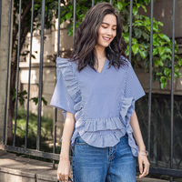 Jellpe Striped Shirt V Loose Collar Shirt