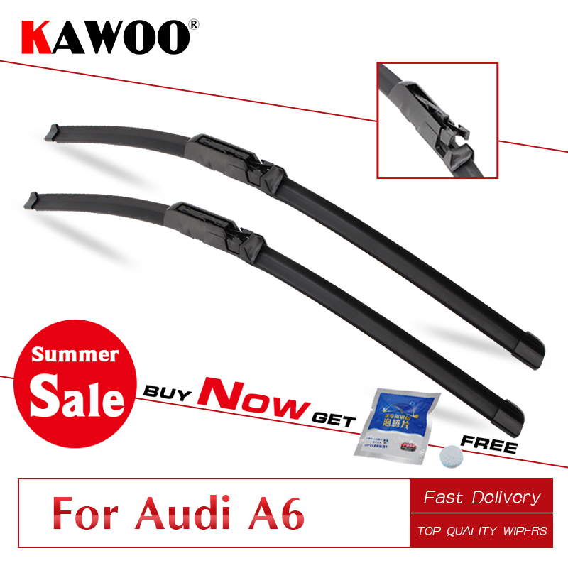 KAWOO For Audi A6 C5 C6 C7 4F From 1997 To 2017 Auto Car Wiper Blades Natural Rubber Fit U Hook Slider Claw Push Button Arms in Windscreen Wipers from Automobiles Motorcycles