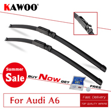 KAWOO For Audi A6 C5 C6 C7 4F From 1997 To 2017 Auto Car Wiper Blades Natural Rubber Fit U Hook/Slider/Claw/Push Button Arms цена и фото