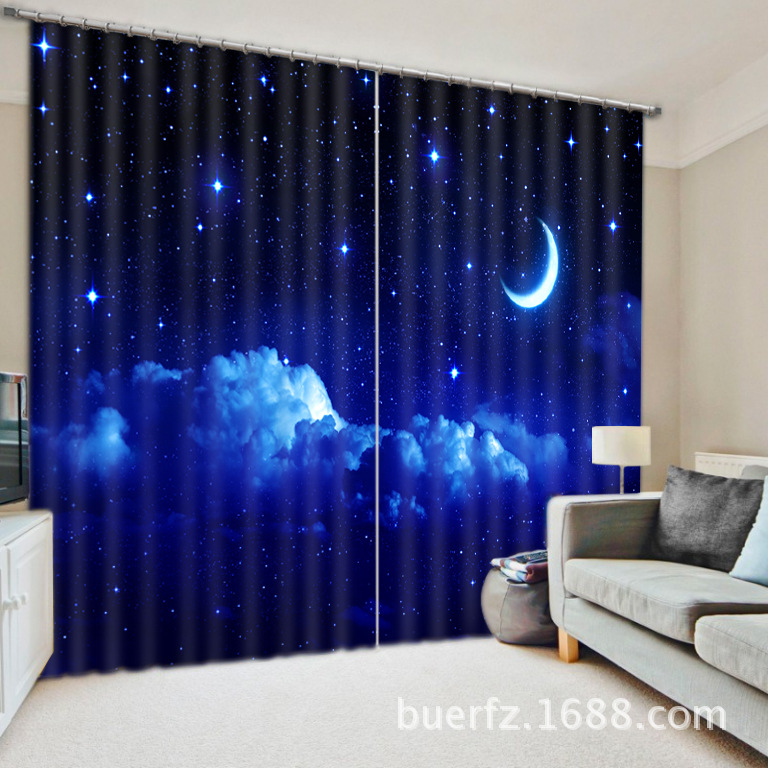 moon star 3D Galaxy Universe Blackout Curtains For Living room Bedding room Decor Tapestry Wall Carpet Drapes Cotinas