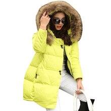 Новый Для женщин длинные Пух хлопковое пальто зима большой воротник парка Пальто и пуховики плащ Плюс Размеры Толстая стеганая куртка женская теплая верхняя одежда AB523
